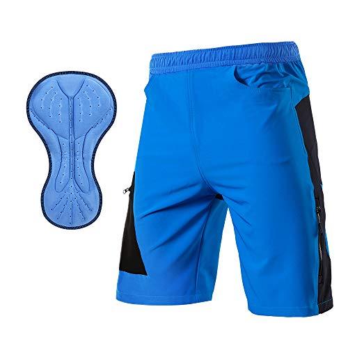 TOMSHOO Pantalones Cortos de MTB, Pantalones Cortos de Ciclismo para Hombre con Acolchados en 3D y 4 Bolsillos para Deporte al Aire Libre y Ciclismo (Azul, L)