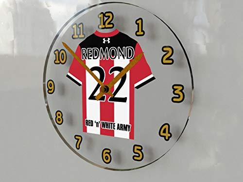 FanPlastic English Premier League Soccer Wall Clocks - All E P L Team Colours Available - Support Your Team !!! (Southampton)
