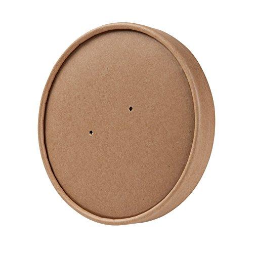 BIOZOYG Tapa desechable orgánica para Tazas 600ml, 800ml I Tapa desechable compostables con Revestimiento Interior de PLA y Agujeros para Vapor I 25 Tapas Biodegradable de cartón marrón para Taza