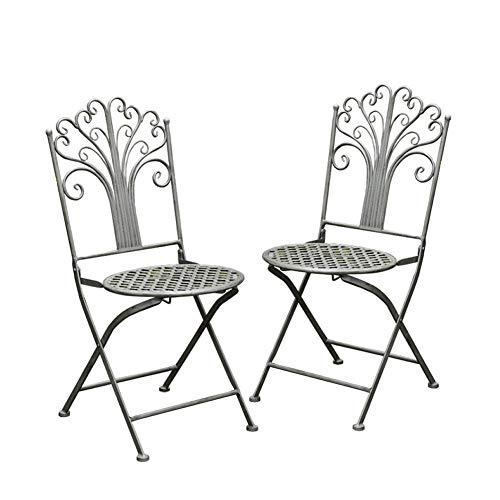 zenggp Sillas Plegables para Exteriores Mesa Plegable De Hierro Forjado Diseño De Pavo Real Jardín Patio Balcón Café Azul Antiguo Francés,2Chairs