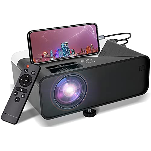 Mini Portable Projector 1080P-Supported for Outdoor - Native 720P Movie Projector Compatible with HDMI,USB,VGA,AV,DVD,TF Card,Laptop,200' Projection,50000 Hrs Lamp Lifetime,for Home Entertainment