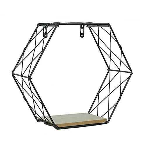 Sinzong IJzer Zeshoekige Grid Wandplank Combinatie Opknoping Geometrische Figuur Decoratie