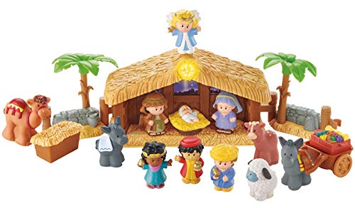 Fisher-Price Little People Coffret Crèche de Noël avec 12 fi