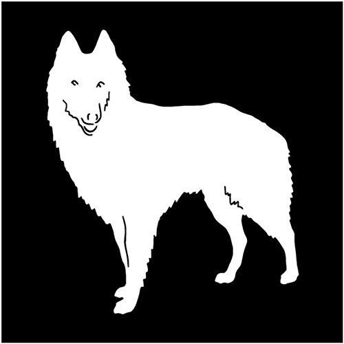 Pegatinas para coche, 2 unidades, diseño de perro pastor, 12,7 x 11,2 cm, color plateado