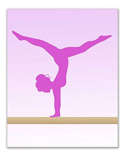 Summit Designs Girls Gymnastics Beam Pink Wall Art Prints - Set of 3 (8x10) Poster Photos - Bedroom - Studio - Gymnast