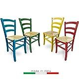 ZStyle Sedia Venezia Legno Colorata Ristorante Agriturismo Cucina Casa Paglia - Verde Blu Giallo Rosso (Verde)