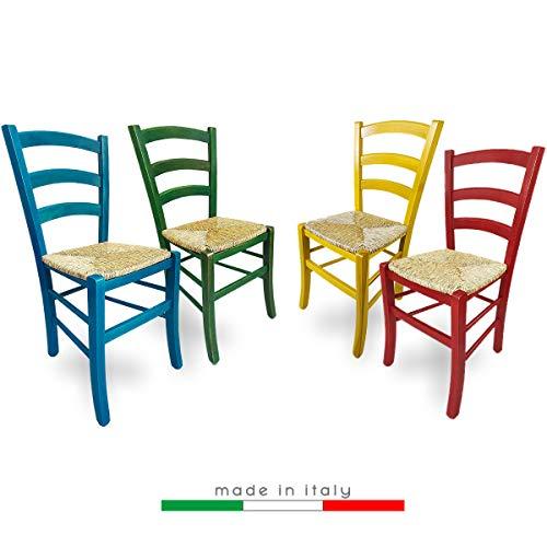 ZStyle Sedia Venezia Legno Colorata Ristorante Agriturismo Cucina Casa Paglia - Verde Blu Giallo Rosso (Blu)