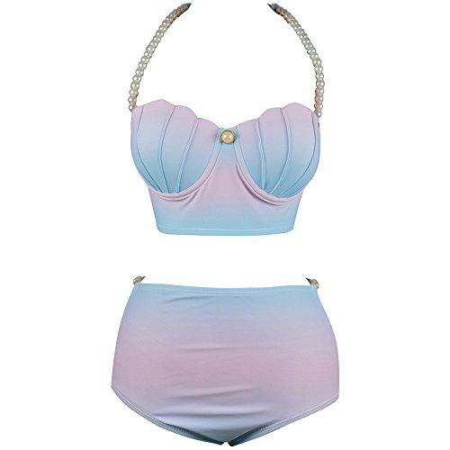 Beachkini Damen Badeanzüge Gradient Color Bikini Meerjungfrau Shell Badebekleidung Hohe Taille Badeanzug