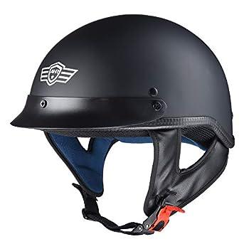 AHR Run-C Motorcycle Half Face Helmet DOT Approved Motorbike Cruiser Chopper Matt Black XL