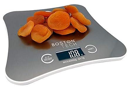 Boston Tech HK106 - Boston tech hk106 - bascula de cocina digital - peso de precisión para cocina. Acero inoxidable con proteccion anti-salpicaduras, facil de limpiar, capacidad hasta 5kg Plateado