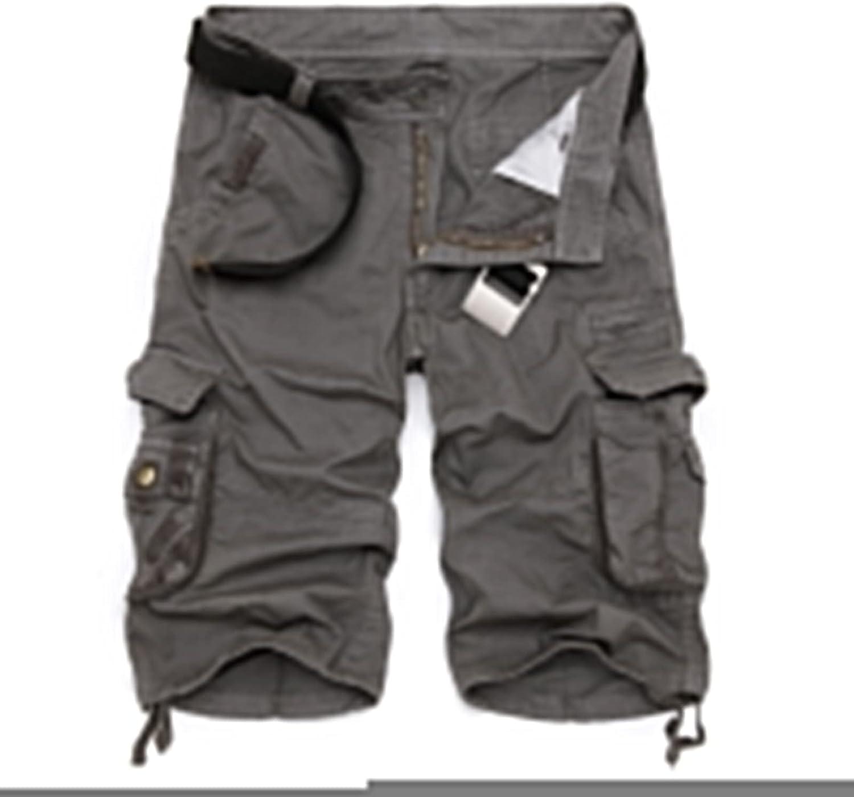 Military Cargo Shorts Men Summer Camouflage Pure Cotton Comfortable Camo-Grey-32