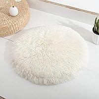 猫ベッド自己加熱ペットパッドペット毛布ラウンドぬいぐるみ猫マット冬暖かい睡眠猫の巣ソフト犬クッションポータブル40Cm Whiteb