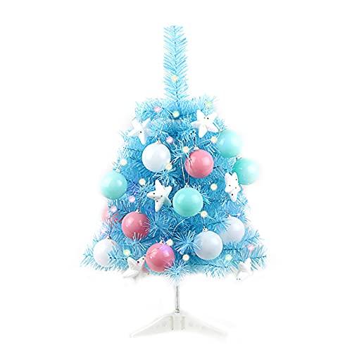 Sursflog - Mini albero di Natale da tavolo con luci a LED, palline e ornamenti da appendere, per tavolo da pranzo fai da te e decorazioni natalizie, 59,9 cm