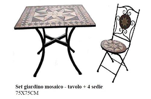 Bagno Italia Arredamento per Esterno Set Giardino tavolino Quadrato in Mosaico con 4 sedie arredo Ferro battuto I