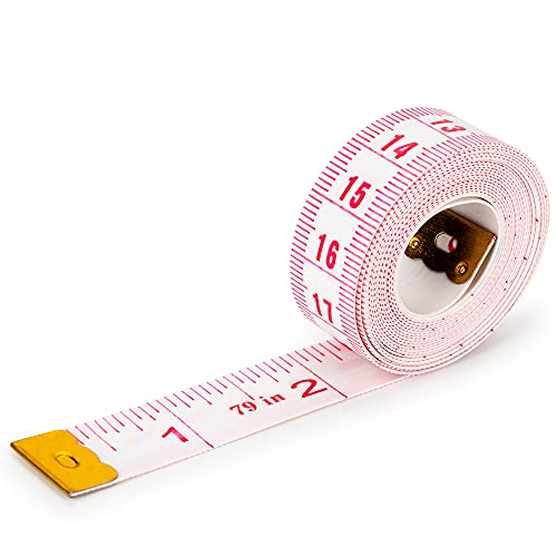 79in Flexible Sewing Tape Measure (White, 2 Meters) for Weight Loss Medical Body Measurement Soft Sewing Tailor Craft Vinyl Measuring Ruler with Centimetre Scale on Reverse Side