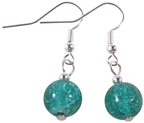 Sea Green Crackle Glass Bead Earrings - 10mm Round Beads on Nickelfree Hooks