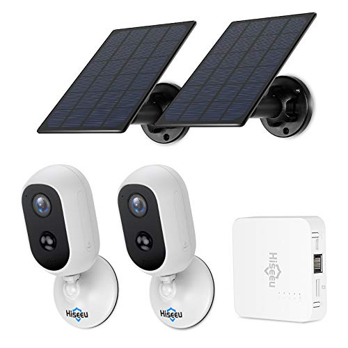 【Solar Powered,PIR Human Detection】Hiseeu 2K Wireless Security Cameras,Non-Stop Working Rechargeable Batteries,Expandable 4Channel NVR,3 Megapixel Cameras,Waterproof,Night Version,Memory Preinstalled