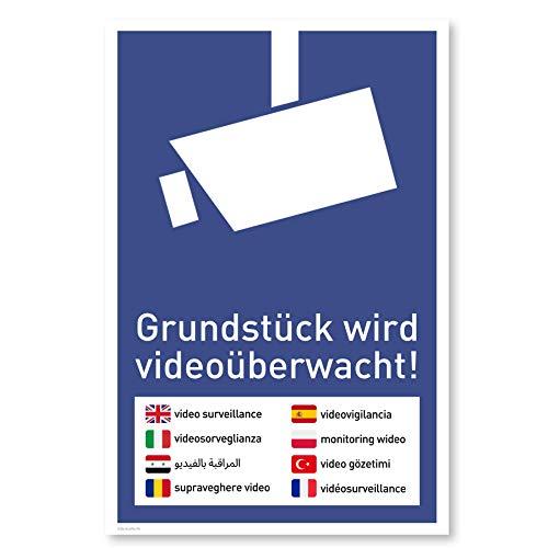 Achtung Videoüberwachung Schild (20x30 cm Kunststoff) - Warnschilder und Hinweisschilder - Videoüberwacht Schilder (Mehrsprachig Blau)