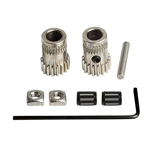 Super Print MK2/MK3 Parts Extruder Driving Gear Steel Pulleys Kit,For Dual Gear Extruder,Dual Driver Extruder for Prusa i3 DIY.(1 Set)
