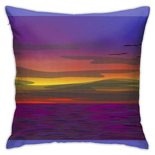 Traveler Shop Funda de Almohada Purple Sea in Twilight Funda de cojín Decorativa Throw Pillow Fundas Protectores, 18x18in