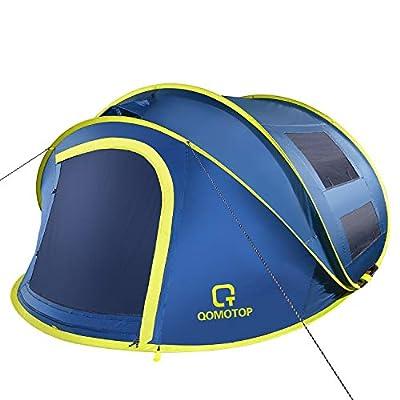 OT QOMOTOP 4 Person Pop up Tent, 9.5?X7?X50'', 10 Second Setup Tent, Waterproof Tent, 2 Big Doors and 2 Roof Vents, 4 Ventilated Mesh Windows, Instant Tent for Family