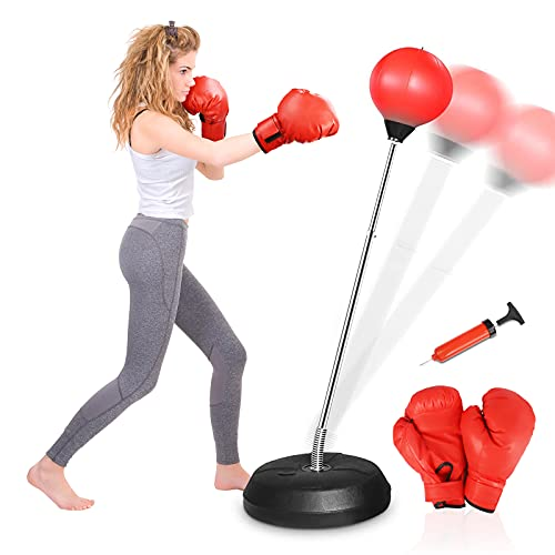 ELEMARA Punching Bag with Stand for Adults Kids, Boxing Bag Plus Boxing Gloves, Height Adjustable Reflex Speed Bag with Stand