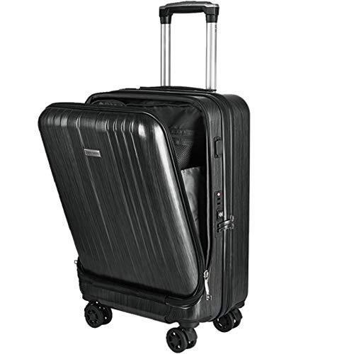 Pieza de equipaje Conjunto Maleta, Trolley Spinner seguir con la carga del USB del ordenador portátil de bolsillo marco de interfaz de la caja de aluminio con las ruedas de la carretilla,B