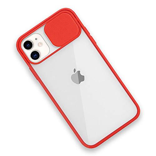 Rdyi6ba8 Funda Compatible con iPhone 11, Carcasa Trasera Transparente Mate PC y Silicona TPU Bordes Resistente a Impactos [Protección de la cámara] Caso para iPhone 11, Rojo