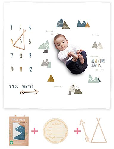 Organic Baby Monthly Milestone Blanket Newborn Boy Girl Unisex Neutral| Boho Mountain Nursery Baby Month Picture Blanket| Baby Growth Photography Background Prop| Markers Wood Birth Announcement Card