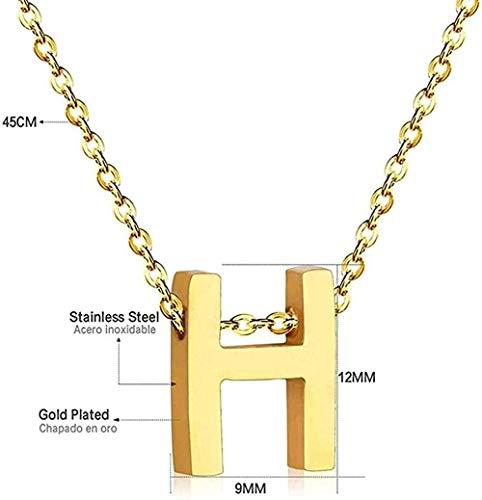 JSYHXYK Collar Collar Collar Collar con Letras para Mujer Joyas De Acero Inoxidable 26 Collar Inicial Collares con Letras