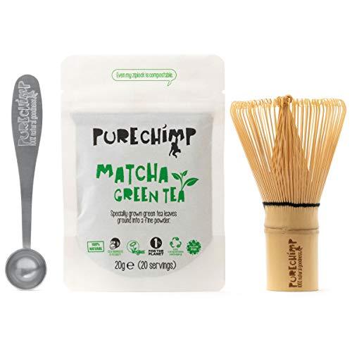 Kit Básico Matcha y Batidor/Set de Té PureChimp Matcha – Batidor de Bambú Japonés Tradicional + 20g Té Verde Matcha Premium + Cuchara medidora - Libre de Pesticidas