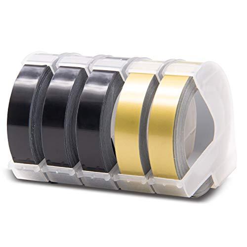 5x Labelwell 9mm x 3m Reemplazo de Etiquetas Compatible para Dymo 3D Blanco sobre Negro/Oro Cinta de Estampación Autoadhesiva para Dymo Organizer Xpress/Junior/Omega / 1540, Motex E-101 E-202