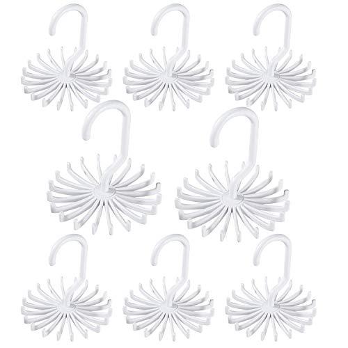 "Gizhome 8 Pack 360 Degree Rotating Scarf Hanger Adjustable Twirl Plastic Tie Rack Tie Belt, Multipurpose Organizer, Hook Ties Scarf for Closet Storage (White, 4.4"")"
