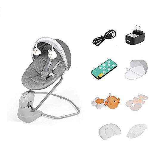 GTBF Silla de guardaespaldas de Swing Baby Baby eléctrico Cuna Silla Bluetooth Inteligente Control Remoto Mosquito Net cojín Almohada Mate recién Nacido Regalo