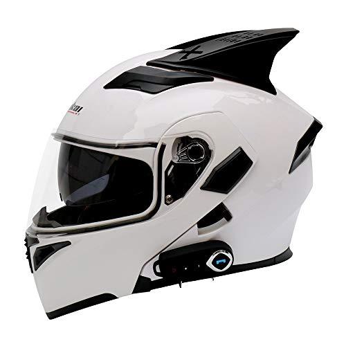 FAGavin Casco eléctrico Bluetooth para motocicleta, casco de cara completa, con doble lente abierta, casco de cara completa, con cuernos de cinturón FM, blanco, multicolor, grande (tamaño: L)