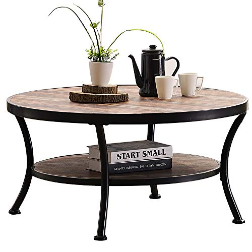O&K Furniture Rustic Round Coffee Table for Living Room, Industrial Cocktail Table with Open Shelving, Vintage Brown Finish,1-Pcs