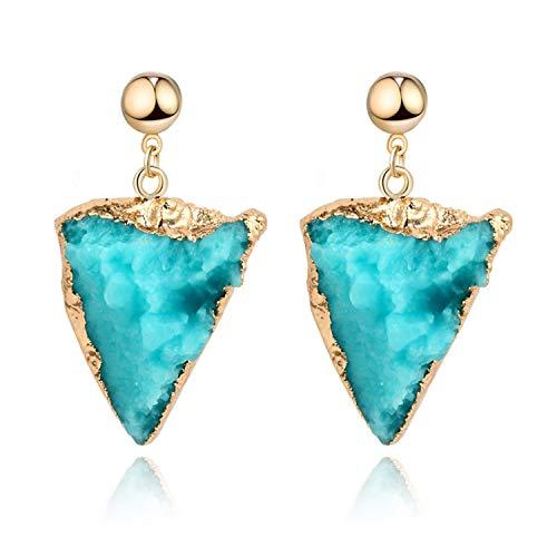 Sunwd Mujer Pendientes, Unique Female Resin Stone Triangle Dangle Druzy Earings For Women Jewelry Handmade Drusy Drop Earing Eardrop Pink Earrings E153 blue