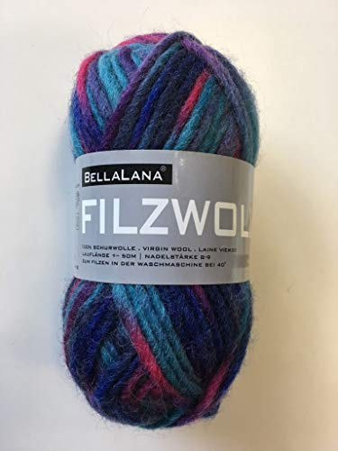 Filzwolle blau/rot meliert aus 100% Schurwolle, Lauflänge ca. 50 m