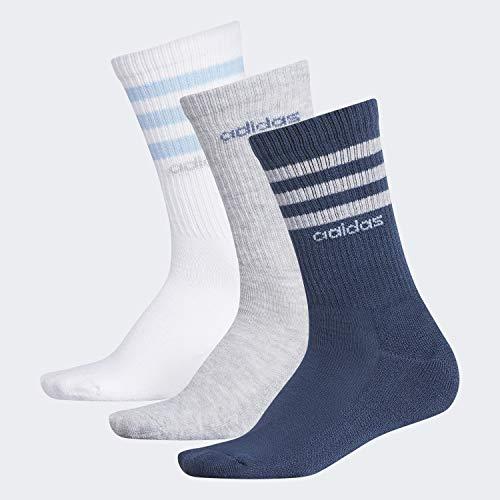 adidas Women's 3-Stripe Crew Socks (3-Pair), Tech Ink Grey/Cool Light Heather/Glow Blue/White/C, Medium, (Shoe Size 5-10)