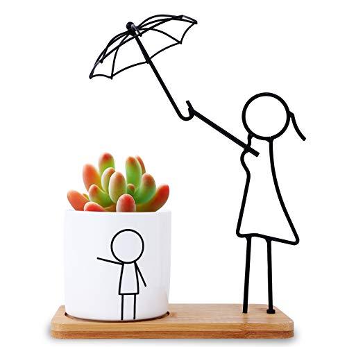 Herefun Macetas Decorativas, Macetas para Plantas Cactus Suculento Plantas, Flower Pot Blanca con Plato de Bambú, Macetas Interior Regalo Hogareña Jardin Boda Decorativos (Madre & Niño)