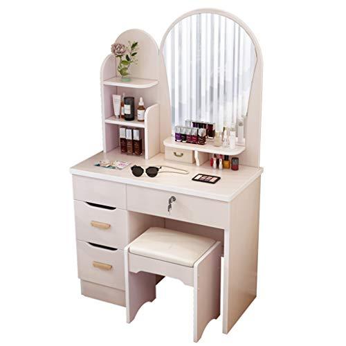 WUX Toelette Toilette con Specchio e Sgabello, Tavolo da Trucco per Trucco con cassetto, Facile da Montare per i mobili della Camera da Letto