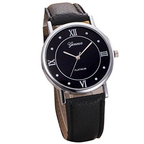 Kolylong® Frauen PU Leder Armbanduhr (Schwarz)