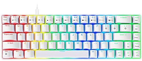 NPET ゲーミングキーボード 有線 青軸 メカニカルキーボード 白い LED バックライト 着脱式ケーブル 角度調節可能 全キーロールオーバー対応 2年間無償品質保証 キーキャッププーラー付き (青軸 メカニカル ゲーミングキーボード US配列(68キー ホワイト)-K61-06)