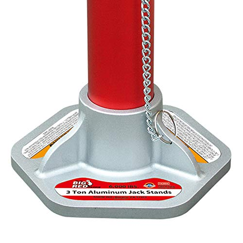 BIG RED T43004 Torin Aluminum Jack Stands with Locking Support Pins: 3 Ton (6,000 lb) Capacity, Red/Silver, 1 Pair