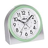 Atlanta 2170/6 - Despertador moderno sin tic-tac, luz, alarma intermitente, cuarzo, color plateado y verde
