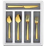LIANYU Besteck-Set mit Tablett, Edelstahl, quadratisch, für 4 Personen, goldfarben, für Zuhause, Restaurant, spülmaschinenfest, spiegelnd, 20-teilig