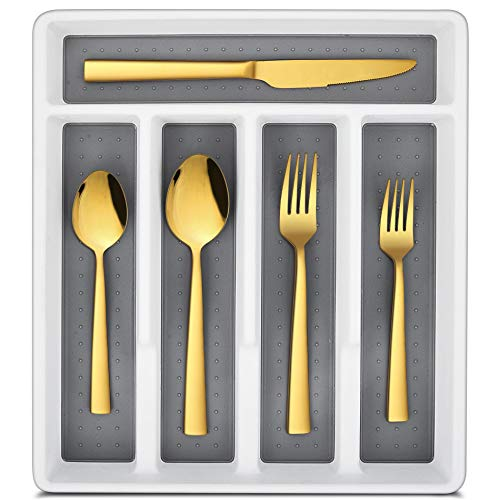 LIANYU 20-Piece Gold Silverware Set with Tray, Stainless Steel Square Flatware Cutlery Set for 4, Gold Eating Utensils for Home Restaurant, Dishwasher Safe, Mirror Finished