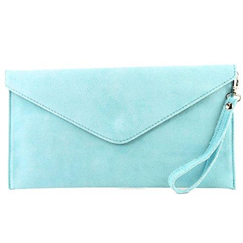 modamoda de - T106 - ital Clutch/Abendtasche aus Wildleder, Farbe:Hellblau