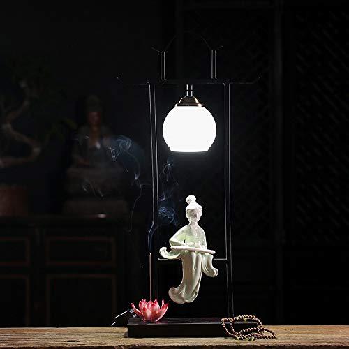 YIYINGSI Quemador De Incienso De Reflujo,Backflow Incense Burner Lady Tocando Piano Decoraciones De Luz Nocturna para El Hogar Yoga Cerámica Crafts Aromatherapy Burner Lamps Ornaments