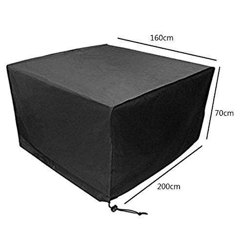 Deylaying Noir Table Chaise Meuble de Rangement Housse de Protection pour extérieur étanche Jardin Patio 200 * 160 * 70CM